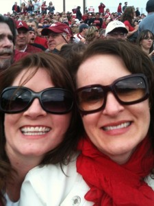 My sister Michelle and I at a football game