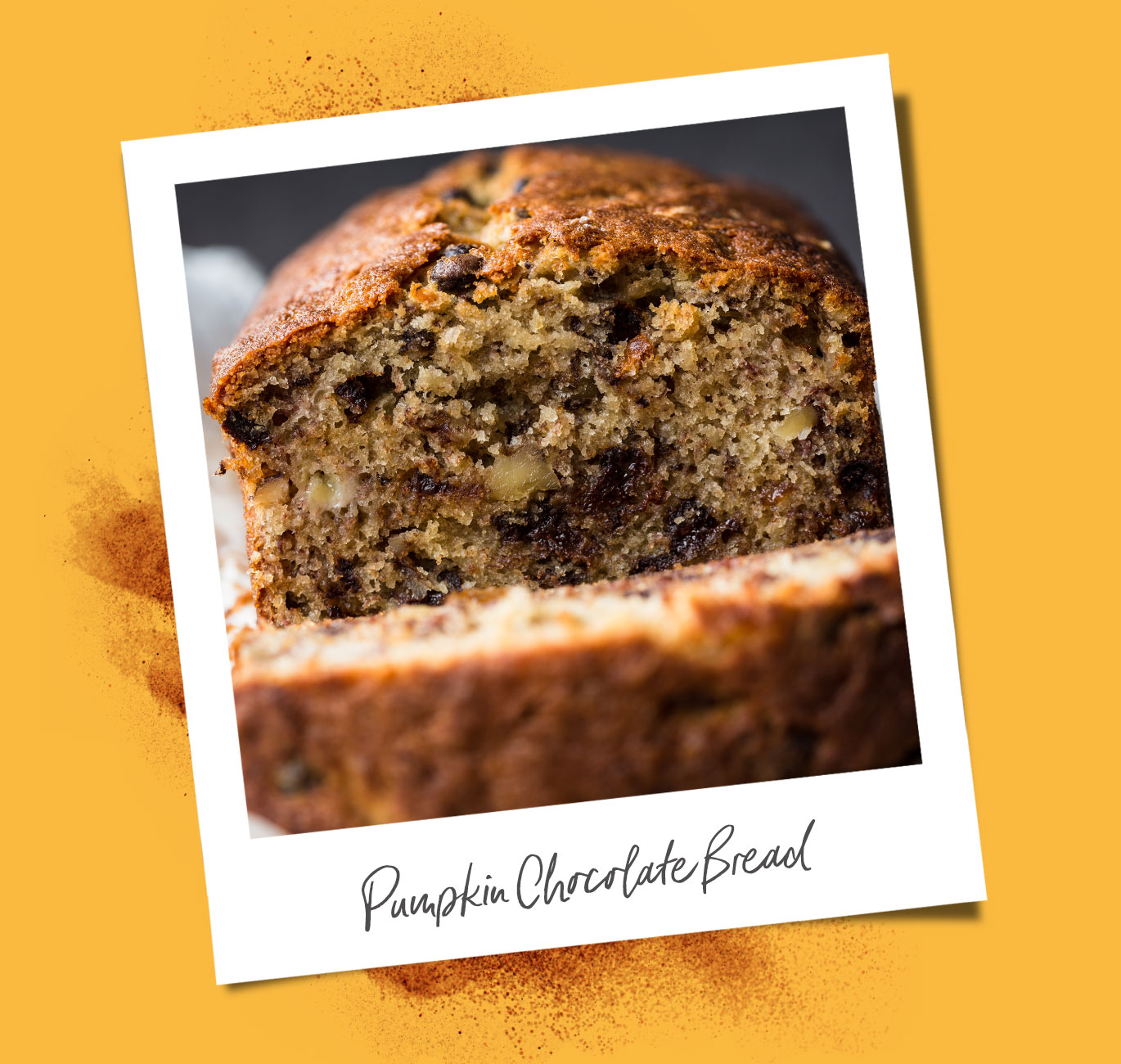 Pumpkin Chocolate Bread recipe polaroid